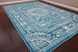 Feraghan/New City Transitional French Floral Wool Persian Area Rug, 5' x 7'3, Light Blue