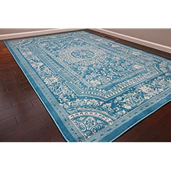New City Light Blue Traditional French Floral Wool Persian Area Rugs 5u00272 X 7