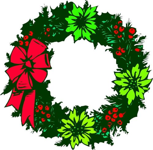 Christmas Wreath, Poinsettias & Berries - Etched Vinyl Stained Glass Film, Static Cling Window Decal