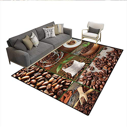Floor Mat,Collage of Coffee Beans in Cups and Bags with Green Leaves on Wooden Table Photo,Small Rug Carpet,Brown GreenSize:6'x7'