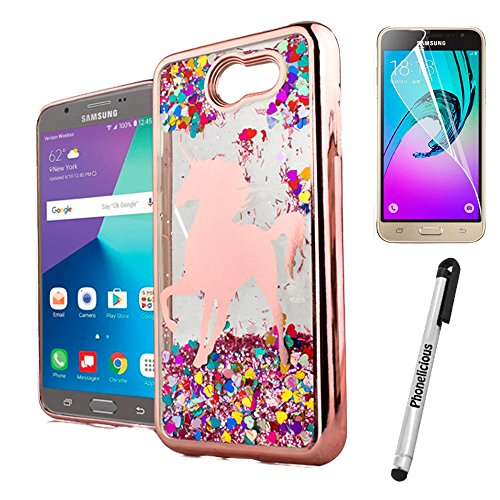 Phonelicious Liquid Glitter Series Compatible with SAMSUNG GALAXY J7 2017/J7V/J7 SKY PRO/J7 PERX, PCTPU [Lightweight] [Shock Proof] Hybrid Hard Protector Cover + Screen Protector (UNICORN)
