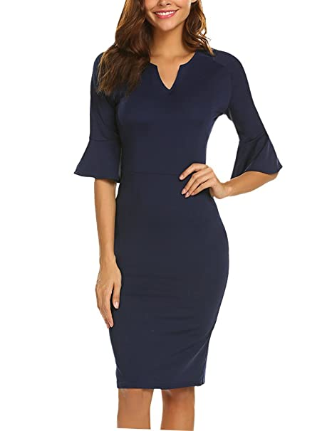 d9b98c4612 Naggoo Women s Business Ruffle Bell Sleeve Slim Fit Cocktail Sheath Dress(S