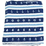 Bambino Land Nautical Blue & White Double Layer Muslin Swaddling Blanket, Made from Organic Cotton