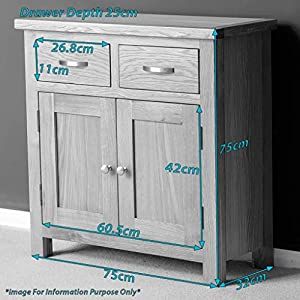 RoselandFurniture London Oak Mini Sideboard Storage Cabinet with Drawers | Small Solid Wooden Cupboard with Shelf for Dining Room, Living Room or Hallway, Fully Assembled, H:75cm W:75cm D:32cm