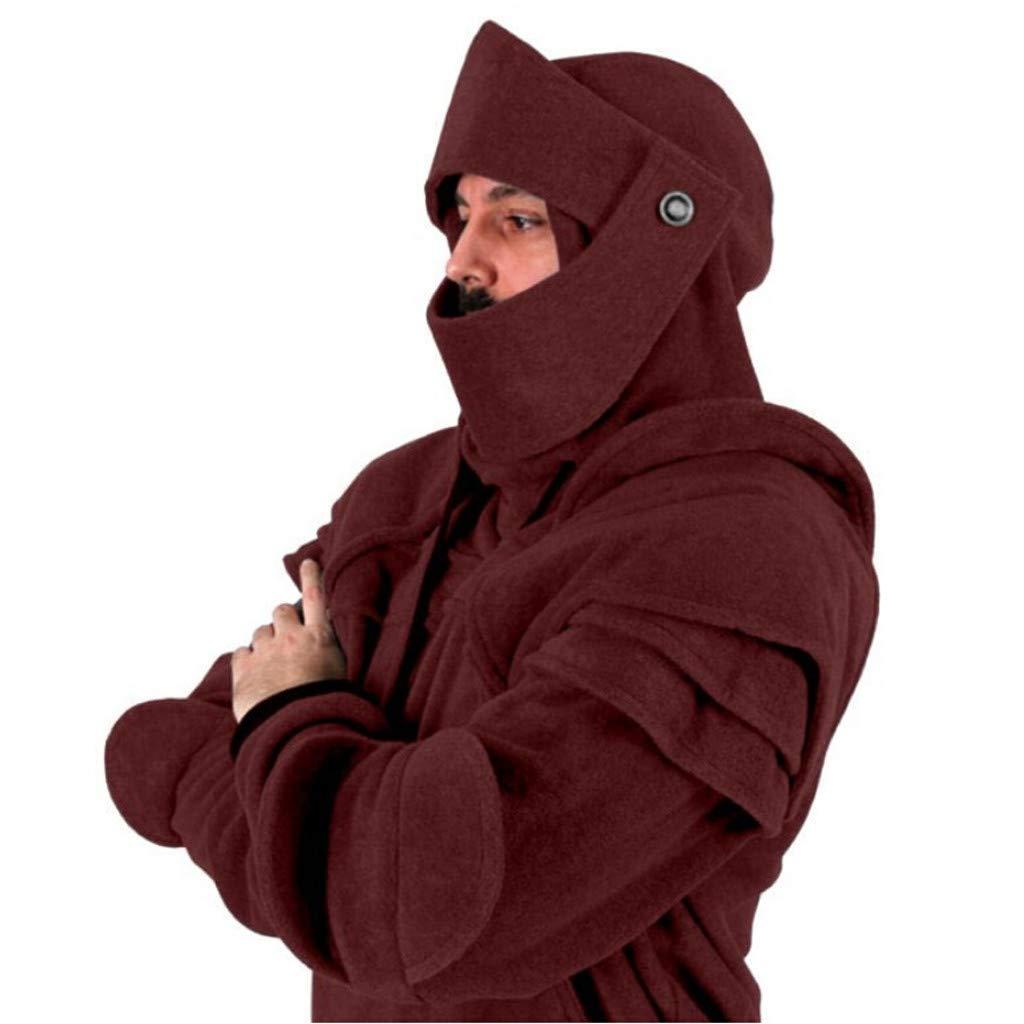 Elogoog Mens Hoodie, Thicken Winter Coat Mens Retro Solider Mask Elbow Button Pullover Long Sleeve Hooded Sweatshirt
