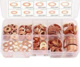 Migiwata Metric Round Solid Flat Copper Washer Ring Sump Plug Oil Seal Assorted Set of 200PCS in 9 Sizes M5-M14 with Reusable Plastic Case for Automotive and Small Engine Repairs