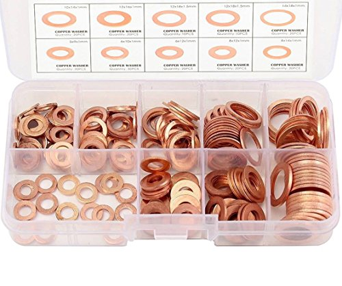 Migiwata Metric Round Solid Flat Copper Washer Ring Sump Plug Oil Seal Assorted Set of 200PCS in 9 Sizes M5-M14 with Reusable Plastic Case for Automotive and Small Engine Repairs by Migiwata