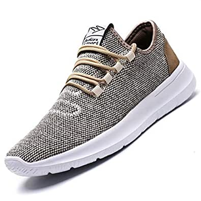 Vamtic Men's Sneakers Fashion Minimalist Lightweight Breathable Athletic Running Walking Shoes Slip-On for Tennis Gym Beige Size: 10