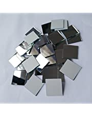 Set of 100pcs Small Square Glass Crafts, Real Glass Mirror Mosaic Tiles 2x2cm