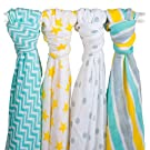 4 Pack Muslin Swaddle Blankets by Zig Zag Kid - 47x47 Large Soft 100% Cotton Baby Blankets For Boys and Girls