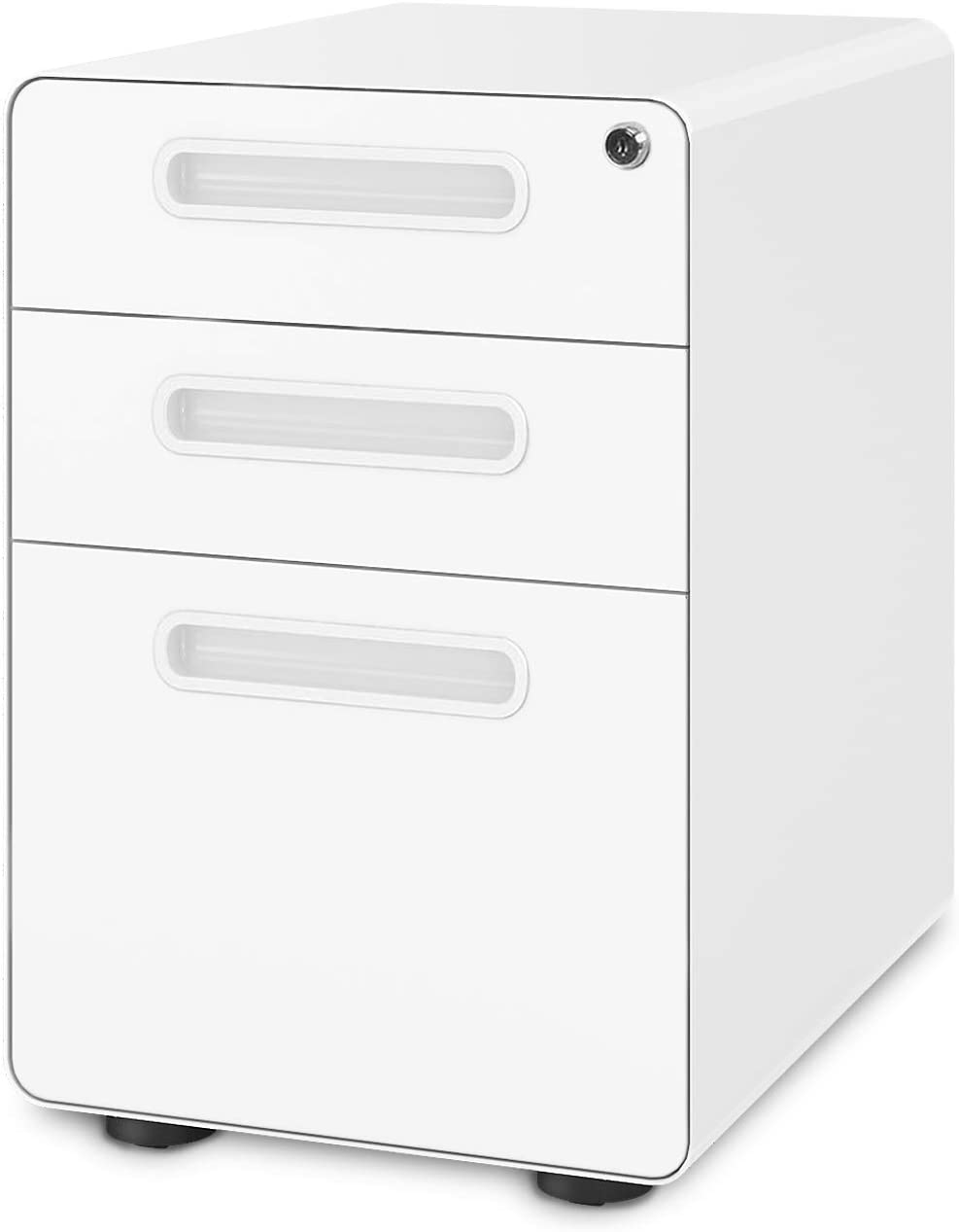 DEVAISE 3-Drawer Mobile File Cabinet with Anti-tilt Mechanism,Legal/Letter Size,White