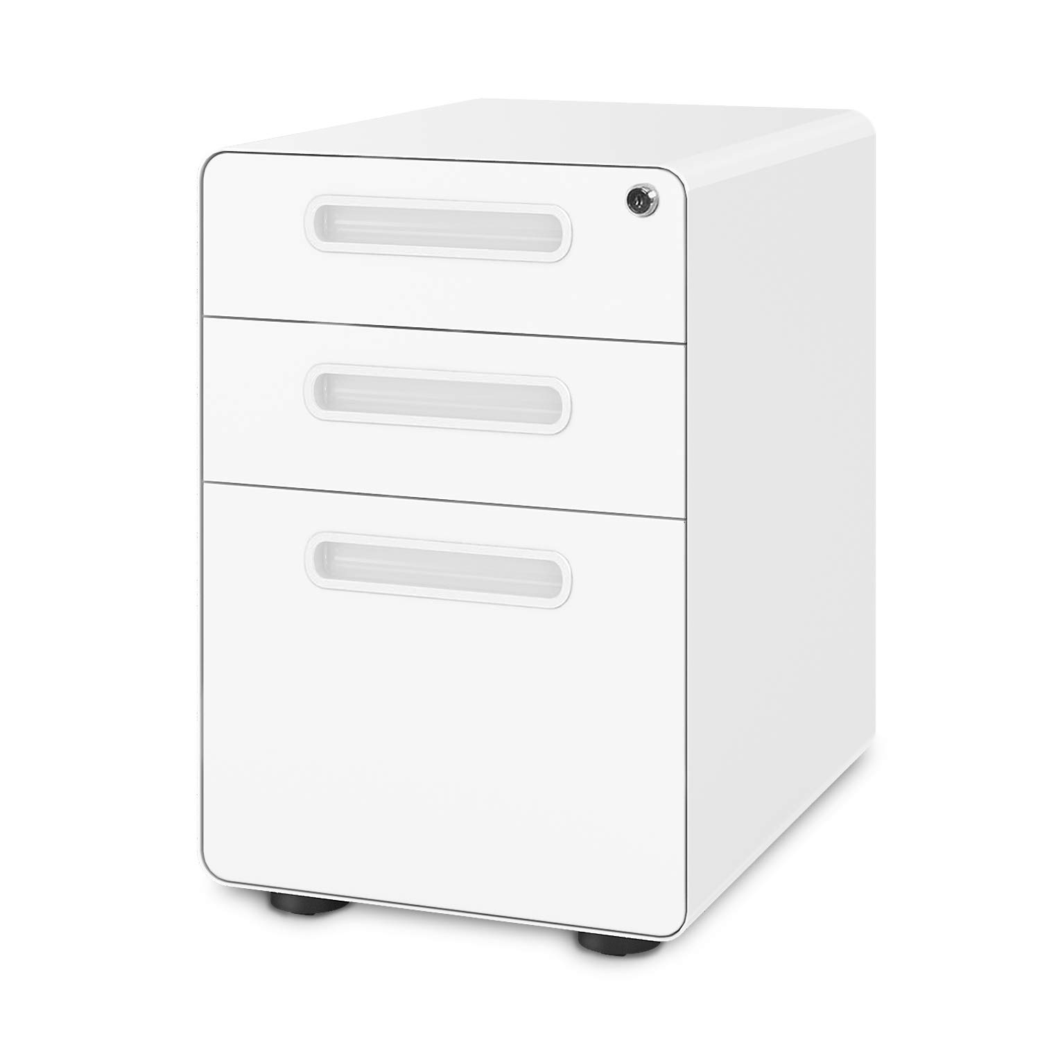 DEVAISE 3-Drawer Mobile File Cabinet with Anti-tilt Mechanism,Legal/Letter Size,White by DEVAISE