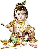 Rangoli god & God's Large Makhan Chor Modern Art Sticker (Pack of 1)