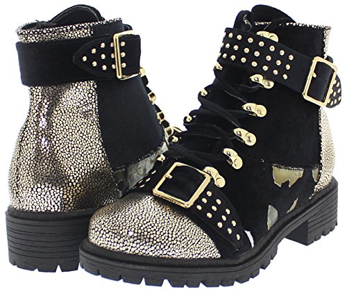 Shoe Republic Patchwork Design Stylish Combat Boots w/Studded Buckle Straps Pierre