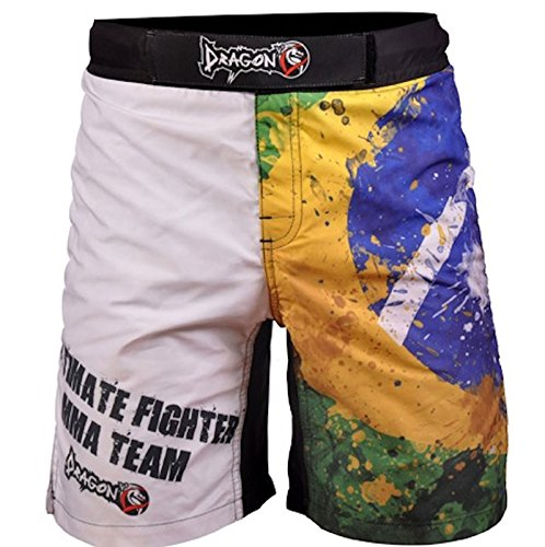 Dragon Do Fight Shorts UFC, MMA, BJJ, Muay Thai, WOD, NOGI, Wrestling, Kickboxing, Boxing, Training Shorts – Lightweight Microfiber Fabric and Special Design – Brazil White – DiZiSports Store