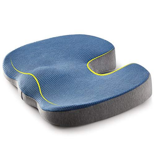 jiaao Coccyx Seat Cushion - Orthopedic Memory Foam Cushion for Tailbone, Sciatica, Back Pain Relief   Office Chair & Car Seat, Washable Cover (U Shape)