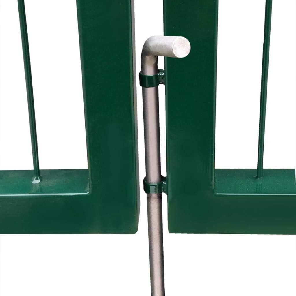 vidaXL Portail de cl/ôture de Jardin avec poteaux 350x100 cm Acier Vert