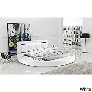 Matisse Oslo Round King Leatherette Bed with Headboard Lights White White Finish