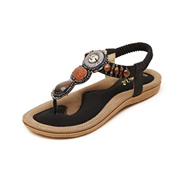 cae896e2eefe7 Jazlyn Women s Bohemian Beads Gemstone Rubber Thong Flat Sandals (US4.5