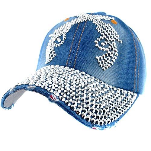 9e5541105d0 Elonmo Design Guns Women Studded Bling Rhinestone Baseball Cap Sparkly  Denim Hats Adjustable (BLUE) - Buy Online in Oman.
