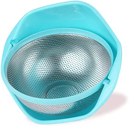 BONOW 2-IN-1 Strainer Colander Rotatable Fruit Baskets for Kitchen Micro-perforated Strainers Detachable Self-draining for Pasta Rice Spaghetti Noodles Salads Vegetables Food- Blue