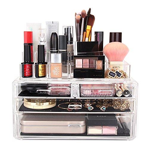 Melodysusie Large Acrylic Makeup Organizer A Set Of 3