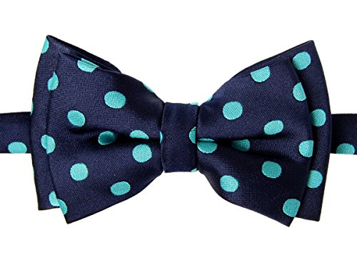 Retreez Classic Polka Dots Woven Microfiber Pre-tied Boy's Bow Tie - Navy Blue with Emerald Green Dots - 24 months - 4 years
