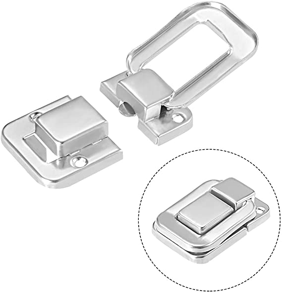 Pack of 4 48mm Retro Style Silver Tone Decorative Hasp Jewelry Suitcase Box Catch w Screws uxcell Toggle Latch