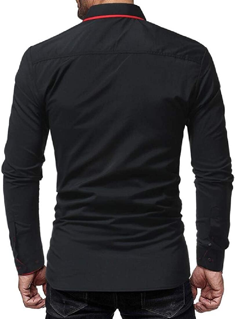 Hajotrawa Mens Slim Fit Striped Lapel Neck Curved Hem Long Sleeve Button Down Shirts