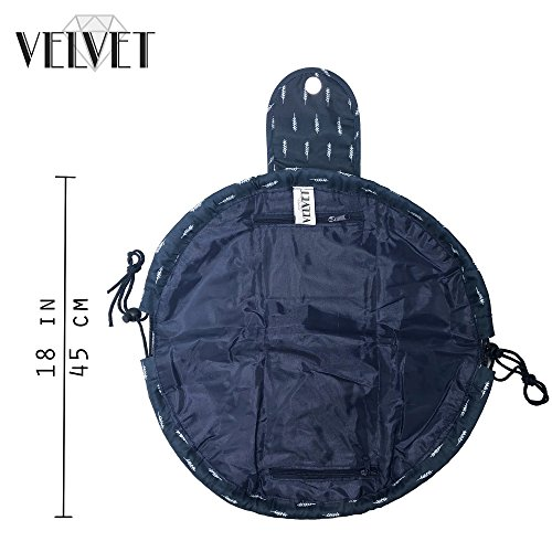Toiletry Travel Bag | Lazy Drawstring Makeup Organizer with Magnetic Snap | Waterproof Cosmetic Pouch for Women, Men, Girls (Large 18 inches, Blue Feathers) by VelvetBags (Image #4)