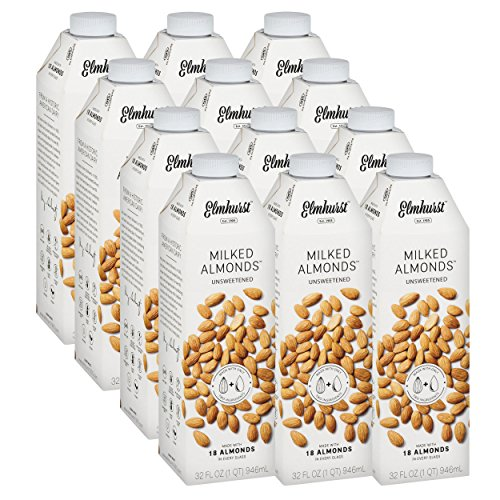 Almond Milk Ingredients - Elmhurst Milked Unsweetened Almond Milk - 32 Fluid Ounces (Pack of 12) Only 2 Ingredients, 4X the Protein, Non Dairy, Keto Friendly, No Added Sugar, Vegan
