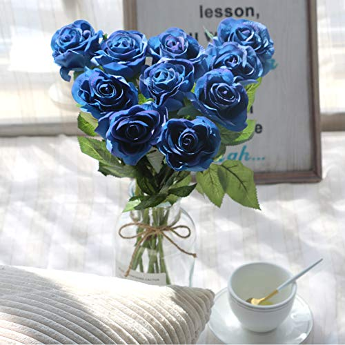 (famibay 10pcs Artificial Flowers Rose Bouquets Vantage Fake Silk Rose Flowers with Leaf and Plastic Stem for Home Wedding Party Mother's Day Garden Hotel Decoration Blue)