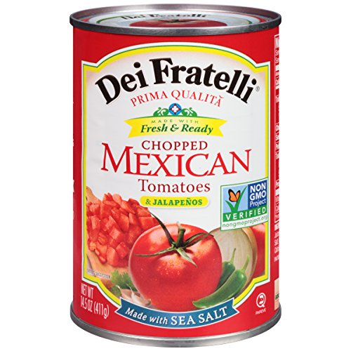 Dei Fratelli Chopped Mexican Tomatoes & Jalapenos - All Natural - 5th Generation Recipe (14.5 oz. cans; 12 pack)