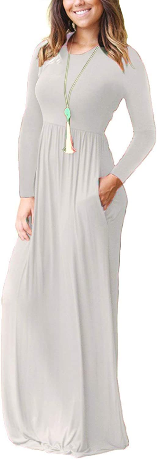 FZ FANTASTIC ZONE Womens Round Neck Long Sleeves A-line Casual Dress with Pocket Beige Medium