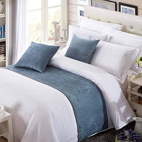 OSVINO Solid Color Chenille Soft No Fading Modern Bed Runner Bedding Scarf Protection, Blue 260X50cm for 200cm Bed (And Scarves Pillows Bed Matching)