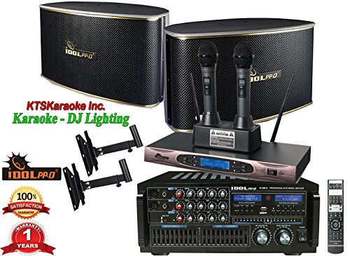 PACKAGE IDOLpro 1400W Superior Karaoke System With 2 Speakers, Dual Wireless Rechargeable Microphones, Mixing Amplifier FREE 20ft Speaker Cables and Wall Mounts System Two Binding Machine