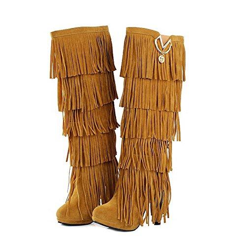 Chiodato Alta Stivali con Mucca di Tacco VogueZone009 Altezza Giallo Frange Alto Donna Pelle 4pxwX