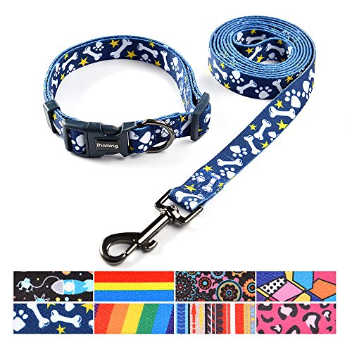 Dog Bone Collar Adjustable (ihoming Pet Collar Leash Set Combo Safety Set for Daily Outdoor Walking Running Training Small Medium Large Dogs Cats)