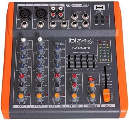 Ibiza MX401 - Mesa de mezclas de 4 canales