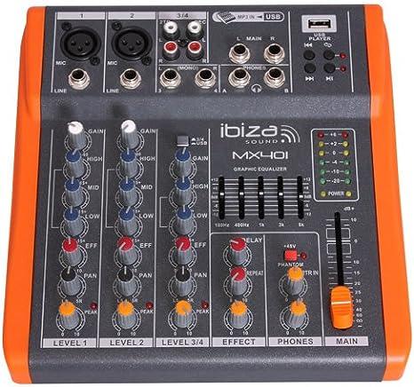 Ibiza MX401 - Mesa de mezclas de 4 canales: Amazon.es ...