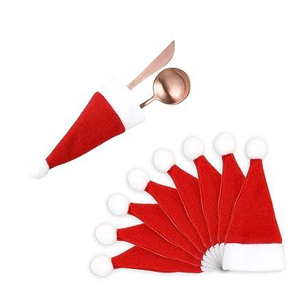 Remoto 8 Unids Sombrero de la Navidad Cubiertos Cubiertos Cuchillos Tenedores Bolsa para la Decoración de