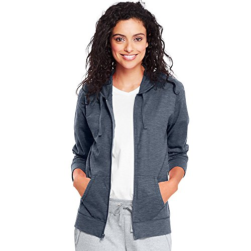 Hanes Women`s Slub Jersey Hoodie, L, Dada Grey Heather by Hanes