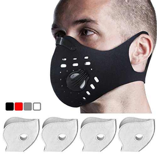 Anti-Pollution Dustproof / Dust Mask with 2 Valves and 4 Activated Carbon N99 Filters. Filtration of Exhaust Gas, Pollen Allergy and PM2.5. Cycling Face Mask for Outdoor Activities by FIGHTECH (BLK)