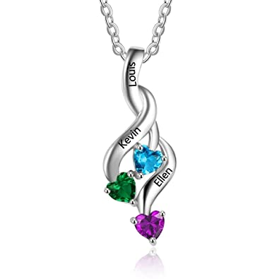 necklace grandchildren for with moon and initial charms you i love the birthstone to three of grandmas back number