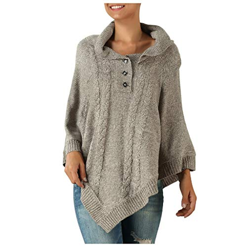 Women's Pullover Sweater Quarter Zip Irregular Asymmetrical Knitted Sweater Poncho Shawl Loose Casual Knit Jumper Tops