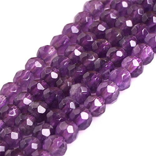 AAA Grade Natural Round Genuine Gemstone Semi Precious Stone Beads for Jewelry Making 15'' (Faceted Purple Amethyst/4MM)