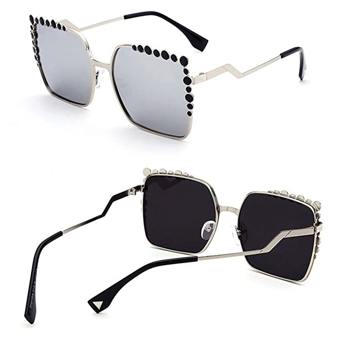 Z&YQ sports Z&YQ Moda Occhiali da sole Donna Montatura in metallo Anti-UV Vintage Style Driving travel Eyewear, B