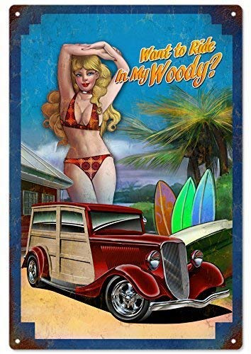 Guadalupe Ross Metal Tin Sign Woody Hot Rod Pin Up Girl, Wall Art Metal Sign 12x8 - Sign Woody Tin
