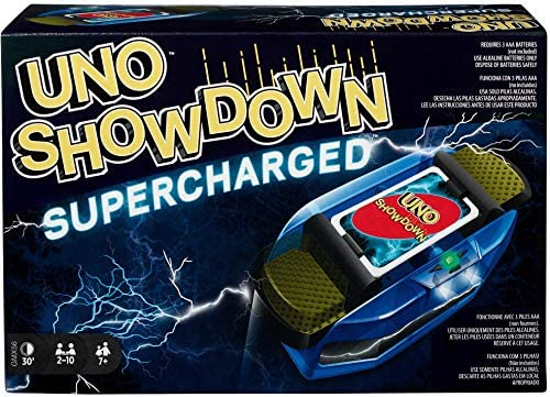 UNO Showdown Supercharged Household Card Recreation with 112 Playing cards & Showdown Supercharged Unit for Ages 7 Years Previous & Up, Reward for Child, Household or Grownup Recreation Evening, Ships in Personal Container [Amazon Exclusive]