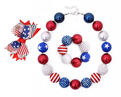 American Flag Children's Jewelry Bow Hair Clip Bubblegum Necklace Bracelet Set Girls Holiday Birthday Gifts-B